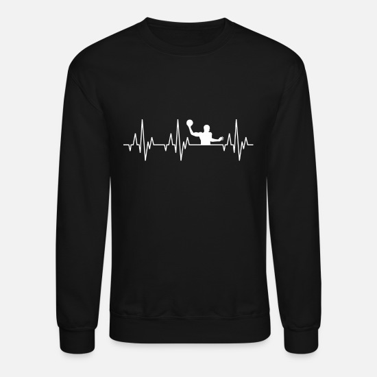 Water Polo Hoodies & Sweatshirts - Heartbeat Water Polo Ball Player Sports - Unisex Crewneck Sweatshirt black