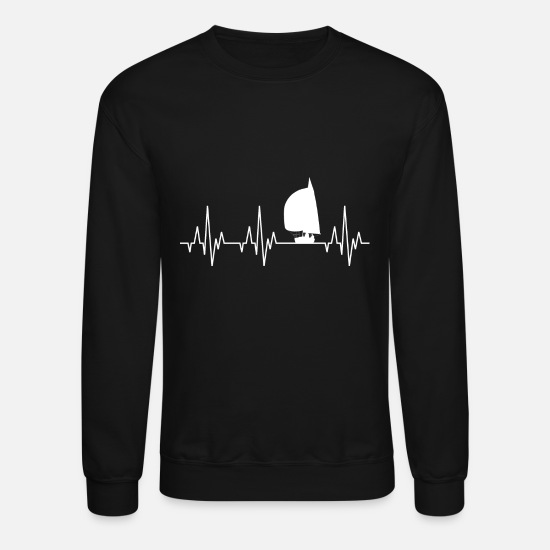 Nautical Hoodies & Sweatshirts - Heartbeat Sailing Sailboat Water Sports - Unisex Crewneck Sweatshirt black