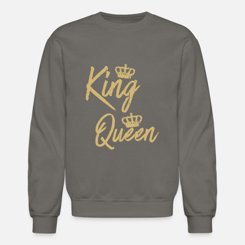 587d6ea793 King Queen Matching Couple Unisex Crewneck Sweatshirt   Spreadshirt