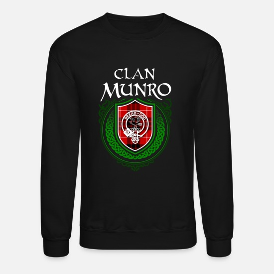 Tartan Hoodies & Sweatshirts - Munro Surname Scottish Clan Tartan Crest Badge - Unisex Crewneck Sweatshirt black