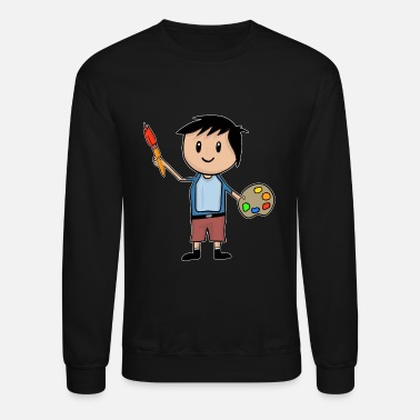 Artist Little Artist - Boy With Brush And Palette - Unisex Crewneck Sweatshirt