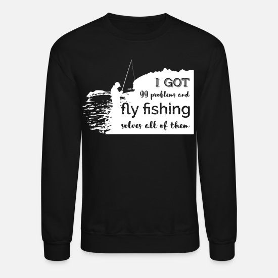 Fly Hoodies & Sweatshirts - Fly Fishing t shirt - Unisex Crewneck Sweatshirt black