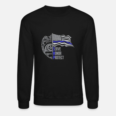 Protect Serve Honor Police Officer SHP Serve Honor and Protect US Flag - Unisex Crewneck Sweatshirt