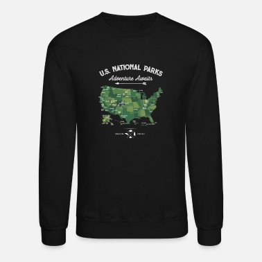National Park National Park Map Vintage All 59 National Parks - Unisex Crewneck Sweatshirt