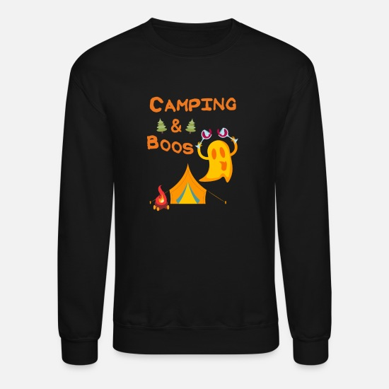 Camping Hoodies & Sweatshirts - Camping & Boos Ghosts Wine Camping Halloween - Unisex Crewneck Sweatshirt black