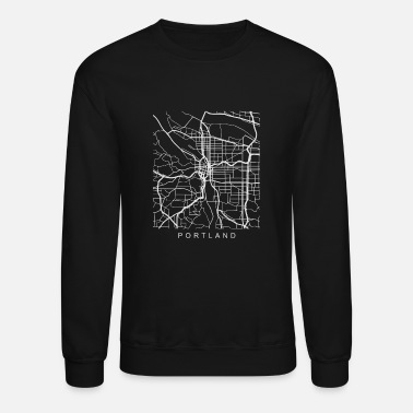 Portland Portland OR Minimalist City Street Map Light Design - Crewneck Sweatshirt