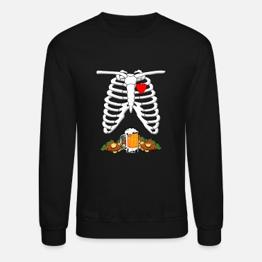 Skeleton X-Ray Beer & Schnitzel Pregnant Halloween - Crewneck Sweatshirt