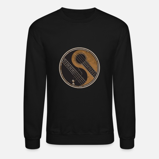 Guitar Hoodies & Sweatshirts - Guitar Ying Yang Gift Guitar Player Shirt - Unisex Crewneck Sweatshirt black