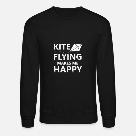 Water Hoodies & Sweatshirts - Kite Surfing Flying Kite Boarding - Unisex Crewneck Sweatshirt black
