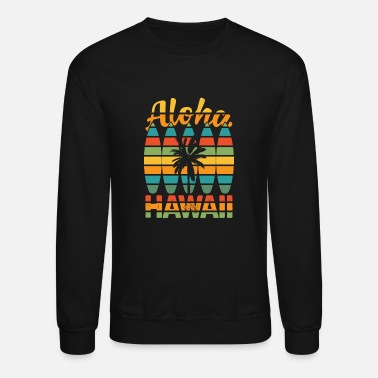 90s Surfing Hawaiian Surfboard Retro Aloha Hawaii - Unisex Crewneck Sweatshirt