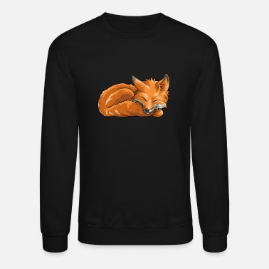 Sleeping Sleeping Fox Funny Woodland Creature Animal - Unisex Crewneck Sweatshirt