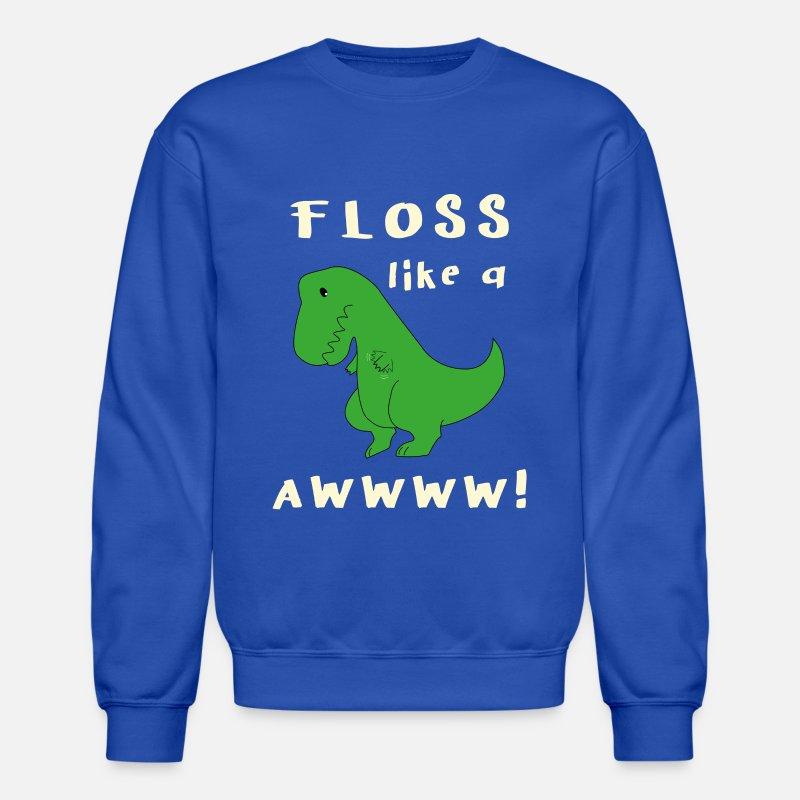 Floss Like A Boss Trend Dinosaur Dino Flossing Crewneck Sweatshirt - royal  blue