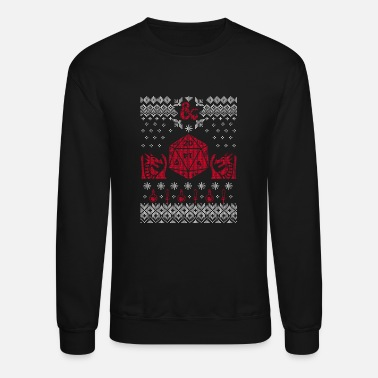 20 Sided Dice D20 Ugly Christmas Sweater - Crewneck Sweatshirt