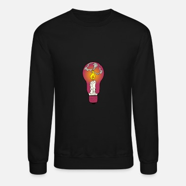 Lighting Candle with Light Bulb Light Flame Wax Paint Lamp - Unisex Crewneck Sweatshirt