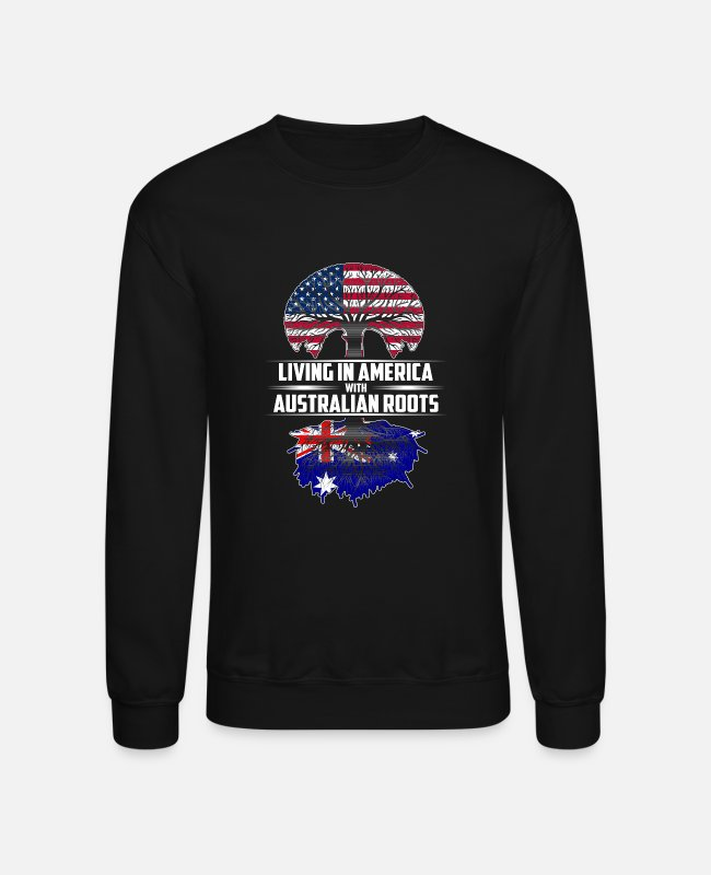Aussie Hoodies & Sweatshirts - Living in america with Australian roots - Unisex Crewneck Sweatshirt black