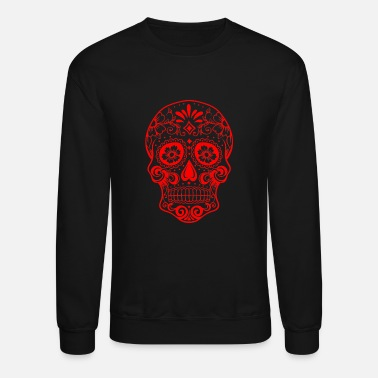 Grey Decorative transparent skull, red - Unisex Crewneck Sweatshirt
