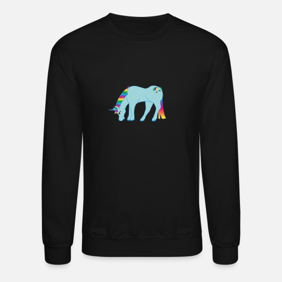 Unicorn Hoodies & Sweatshirts - rainbow unicorn - Unisex Crewneck Sweatshirt black