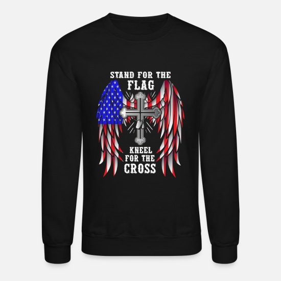 Patriotic Hoodies & Sweatshirts - Stand For The Flag Kneel For The Cross - Unisex Crewneck Sweatshirt black