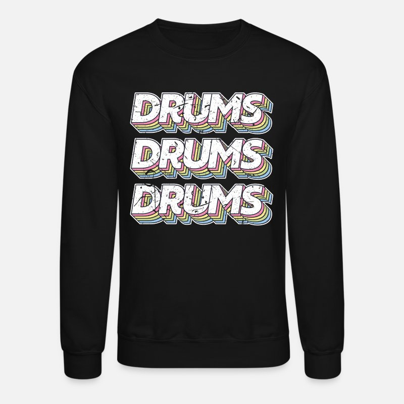 Idea Hoodies & Sweatshirts - Drums Musical Instrument - Unisex Crewneck Sweatshirt black