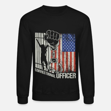 Police American Flag Corrections Officer Thin Silver Line - Unisex Crewneck Sweatshirt
