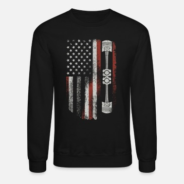 Muscle Car Vintage Patriotic American Flag Piston - Unisex Crewneck Sweatshirt