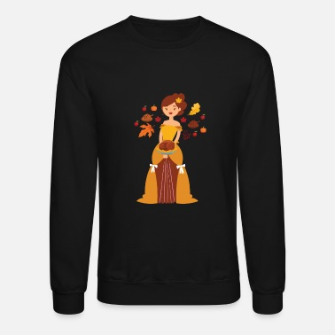 Thanksgiving Princess has Turkey, Fall Leaves - Unisex Crewneck Sweatshirt