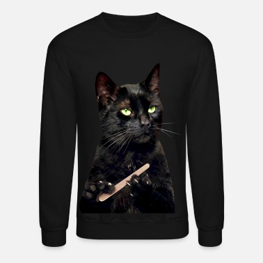 Black Cat Nonplussed Black Cat Filing Nails - Unisex Crewneck Sweatshirt