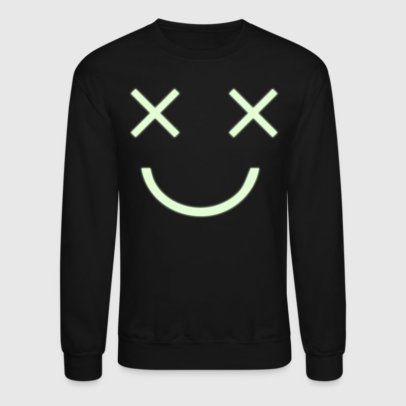 CRAZY HAPPY MAN two crosses dead cartoon eyes with creepy smile and jewels - Crewneck Sweatshirt