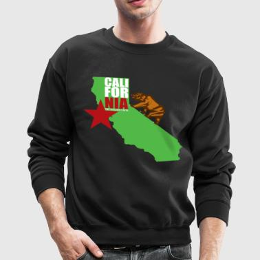 cali_bear_and_map - Crewneck Sweatshirt