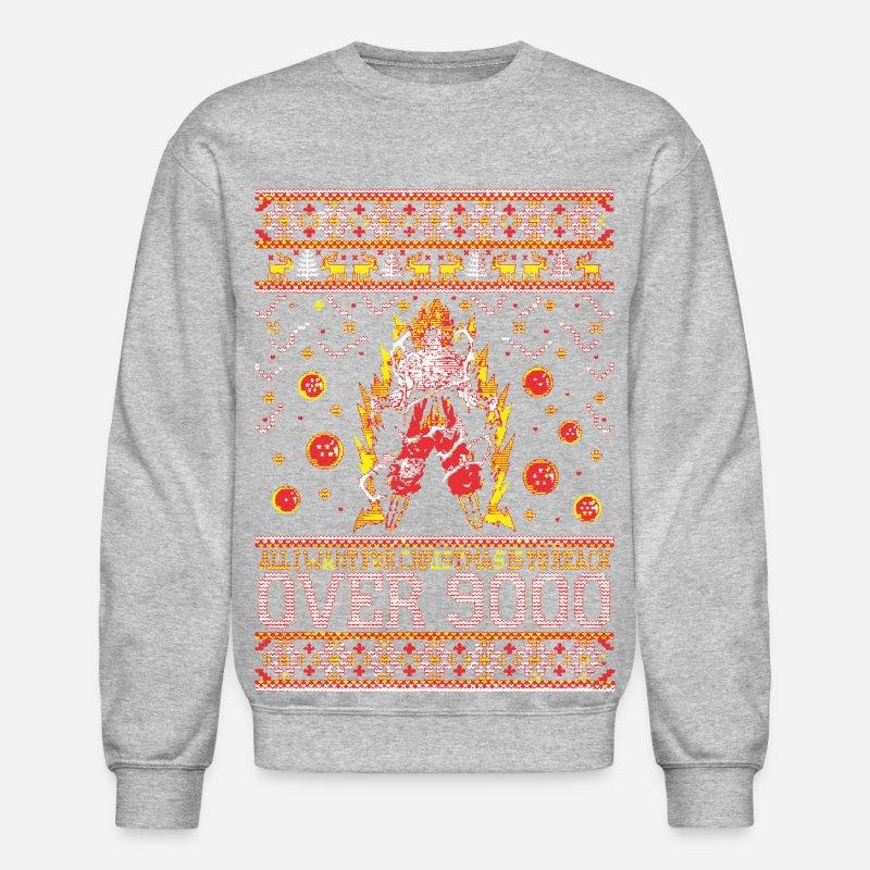 5b61ede11cb Reach Over 9000 Xmas Sweater Crewneck Sweatshirt - heather gray
