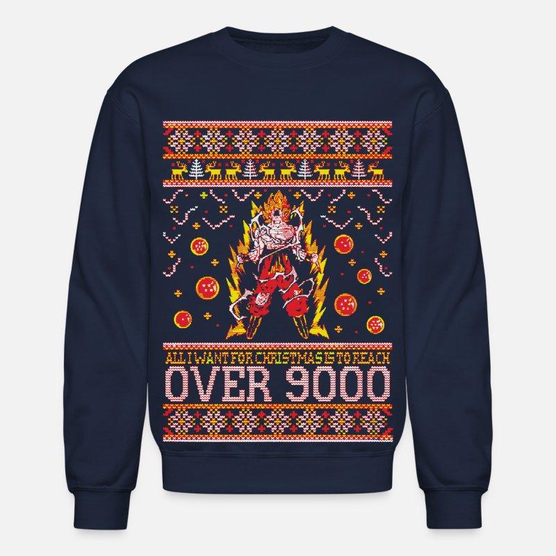 77a6f4e8481 Reach Over 9000 Xmas Sweater Crewneck Sweatshirt - navy