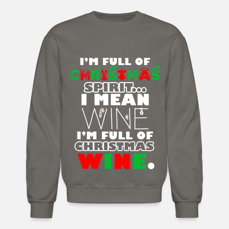 Wine Christmas Sweater.Ugly Christmas Sweater Christmas Wine Crewneck Sweatshirt Asphalt Gray
