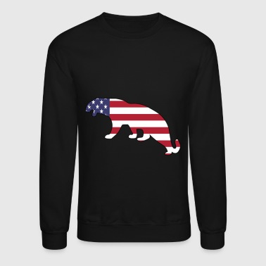 American Flag Mountain Lion Happy 4th of July - Crewneck Sweatshirt