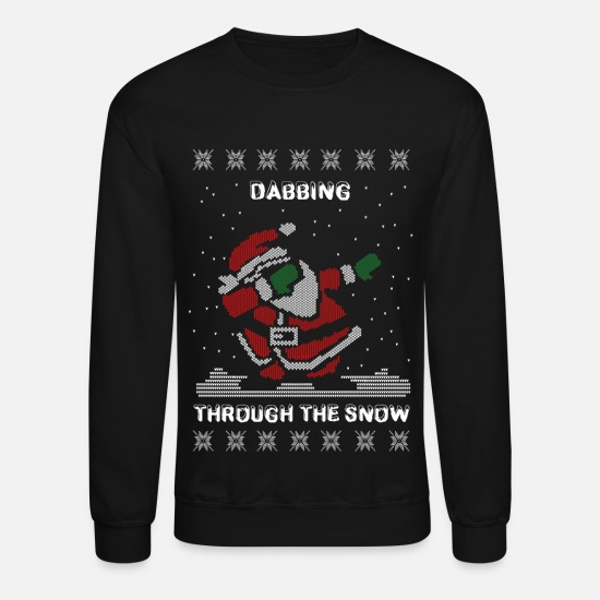 Christmas Hoodies & Sweatshirts - Dab Santa Dabbing Ugly Christmas Sweater - Unisex Crewneck Sweatshirt black
