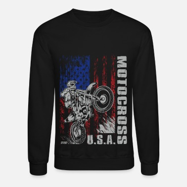 Dirt Bike Motocross USA Strong - Unisex Crewneck Sweatshirt