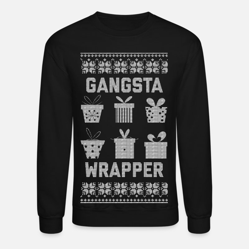 Christmas Hoodies & Sweatshirts - Gangsta Wrapper - Unisex Crewneck Sweatshirt black