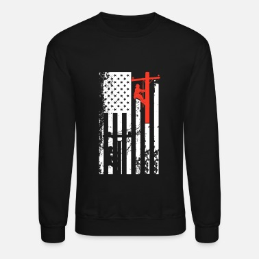 Power Lineman Lineman Flag Shirt - Crewneck Sweatshirt