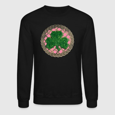Pink Shamrock And Celtic Knots - Crewneck Sweatshirt