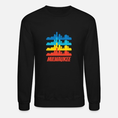 Wisconsin Retro Milwaukee WI Skyline Pop Art - Crewneck Sweatshirt