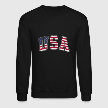 USA Vintage Flag Patriotic USA Flag, American Flag - Crewneck Sweatshirt