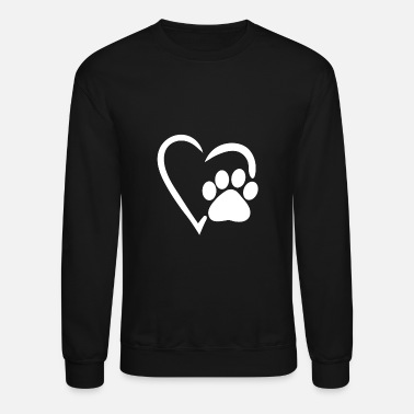 Paw Print heart dog paw dog mom womens shirt gift print - Crewneck Sweatshirt