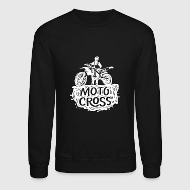 motocross white black rugged gift idea - Crewneck Sweatshirt