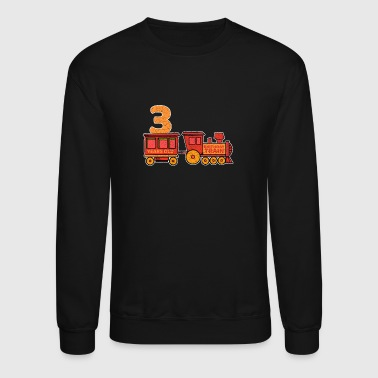 3 birthday locomotive steam locomotive - Crewneck Sweatshirt