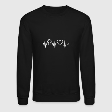 Christian Religion Heartbeat - Crewneck Sweatshirt