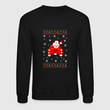 Drive Go By Car Funny Ugly Christmas With Santa Driving Car - Crewneck Sweatshirt