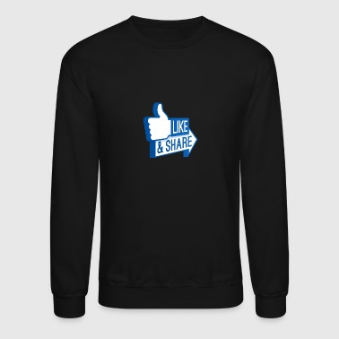 Facebook facebook like sharet transparent - Crewneck Sweatshirt