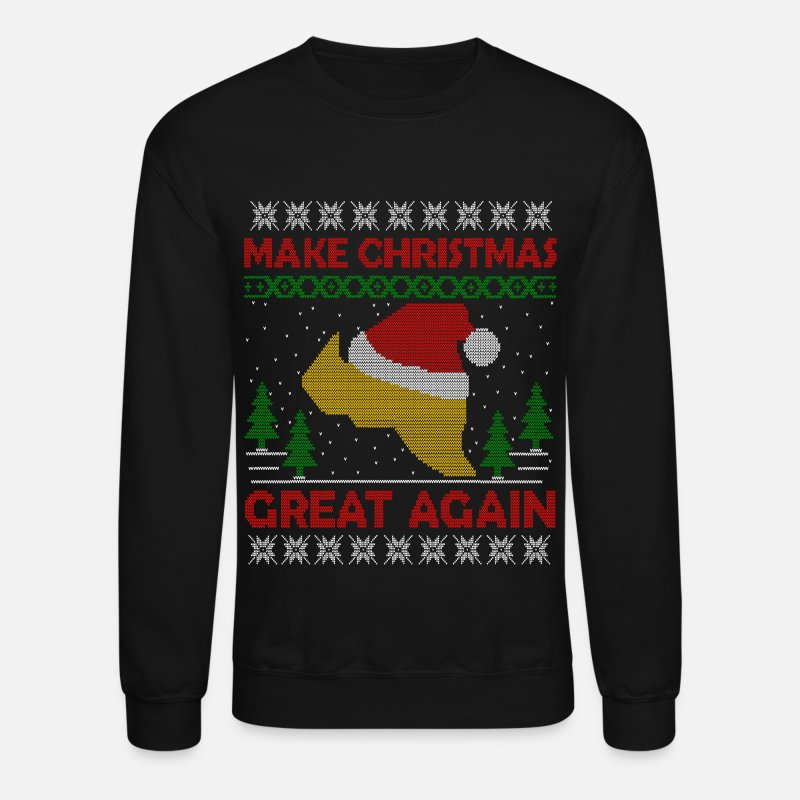 Christmas Hoodies & Sweatshirts - Trump Make Christmas Great Again Ugly Sweater  - Unisex Crewneck Sweatshirt black