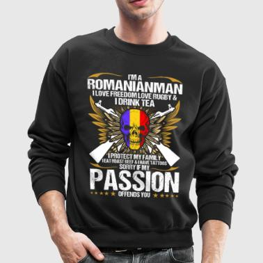 Im A Romanianman I Love Freedom Love Rugby - Crewneck Sweatshirt