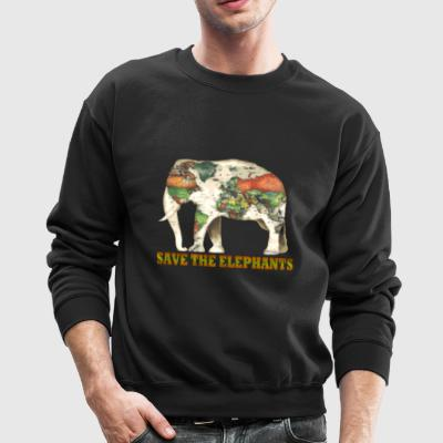 Save The Elephants World Map - Crewneck Sweatshirt