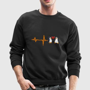 gift heartbeat penguins valentine's day love - Crewneck Sweatshirt